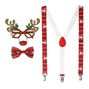 WIDMANN 00765 Juego de renos, gafas, tirantes y pajarita, Unisex - Adulto, Rojo/Blanco, Talla Única