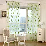Sundlight Sun Flower Print Voile Curtain Sheer Pastoral Style Curtain Panels for Living Room Bedroom Decoration(Green)