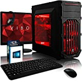Vibox VBX-PC-1492 Cerberus Paket 10 54,6 cm (21,5 Zoll) Gaming Desktop-PC (Intel Pentium Dual Core K-G3258, 16GB RAM, 2120GB HDD, NVIDIA Geforce GTX 750 Ti, Windows 10 Home) rot