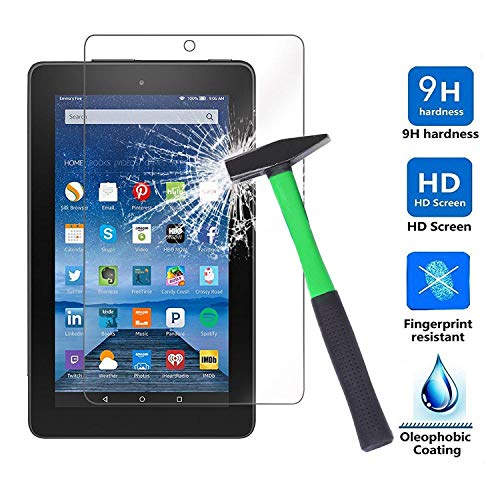 Infiland Protector de Pantalla de Vidrio Templado para Amazon Fire 7 Tablet (7th Generation - 2017 Release) / Fire 7 Tablet (5th Generation - 2015 Release)(Tempered-Glass)
