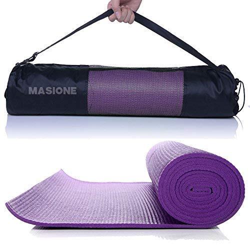 MASIONE® Yogamatte, Gymnastikmatte Fitnessmatte Turnmatte Bodenmatte für Yoga Pilates Sport Fitness Turnen Workout Gymnastik Stretching mit Tragetasche 173×61×0.6cm