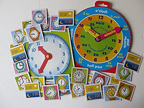 TIME TEACHING CLOCK AND FLASH CARD GAME SET