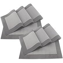 SueH Design Juego de Manteles Individuales de 8 Unidades Gris en PVC 45 * 30 CM