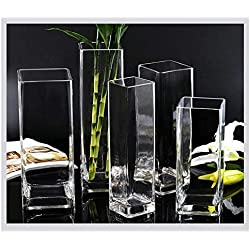 GONGYU Jarrón de Cristal de bambú Transparente para Sala de Estar, diseño de Flores, Moderno y Sencillo, Mediano, caliber4.7inches