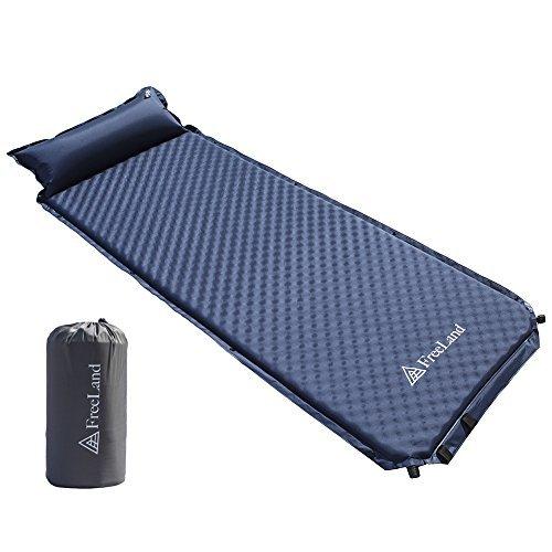 No Name Camping Sleeping Pad Befestigt Selbst aufblasende mit Kopfkissen, Kompakt, Leicht, groß, Dunkelblau, Large (Pad Schaum Schlafsack)