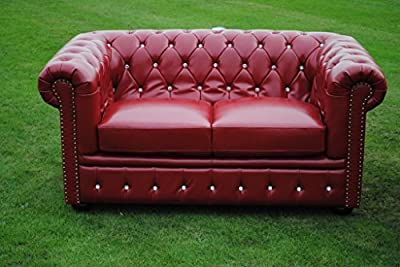 Brand New Red Bycast Leather Chesterfield Diamante 2 Seater Sofa Settee! by Potteries Antique Centre