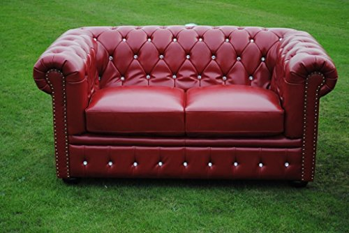 Potteries Antique Centre Marke New Rot Bycast Leder mit Chesterfield 2-Sitzer-Sofa Sofa.