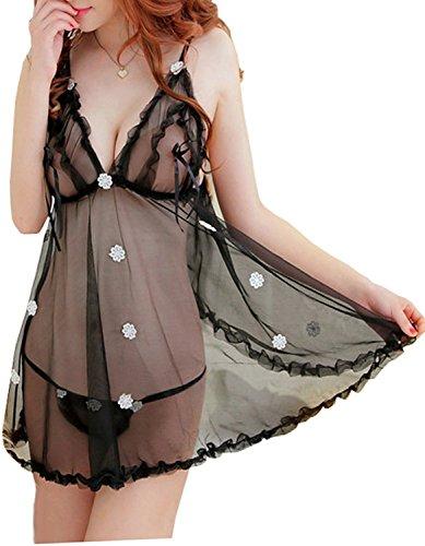 Temfen Black Premium Hot Babydoll Gorgeous Looking Hot & Sexy Babydoll Nighty Honeymoon Special First Night | Valentine Dress Sexy Lingerie Costume Girls/Women | Erotic Dress