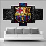 Lllyzz Leinwanddrucke Große Barcelona Flagge Wand Poster Hd Fußball 5 Stücke Leinwand Gemälde Sport Wand Kunstdrucke Bilder Jungen Schlafzimmer Dekor Rahmen Drucke Auf Leinwand 150X80CM