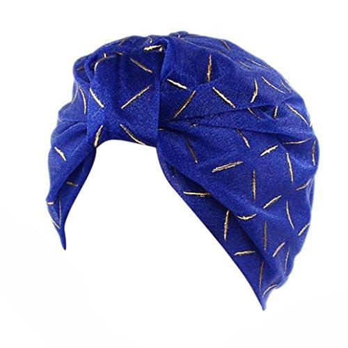 Mützen Longra Damen Seide Hut Beanie Schal Turban Kopf Wrap Cap für Haarverlust, Krebs, Chemotherapie (Blue) (Seide Kopf Binden)