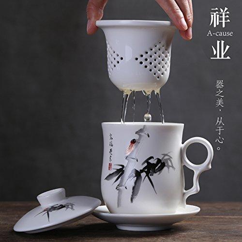 Btftkjbf Le Mug Porcelaine Bleu Et Blanc Avec Un Filtre Tasse Tasse En Céramique Avec Couvercle Office Quatre Jeux De Plateau Kung Fu Master Cup Personnels,Encre Peinture De Bambou