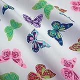 Polycotton, Weiß mit bunten Schmetterlingen, 2 Farben