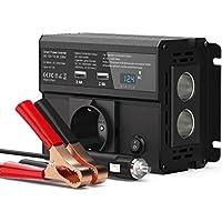 CHGeek 300W Auto Wechselrichter DC 12V auf AC 230V Inverter KFZ Spannungswandler Wechselrichter mit EU Steckdose, 4.8A Dual USB Ladegerät und 2 Zigarettenanzünder für Phones, Tablet und mehr