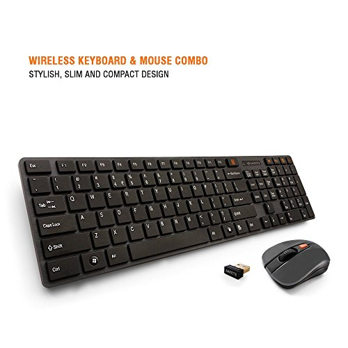 Amkette Optimus 2.4 GHz Wireless Keyboard and Mouse with Optical Sensor, nano receiver