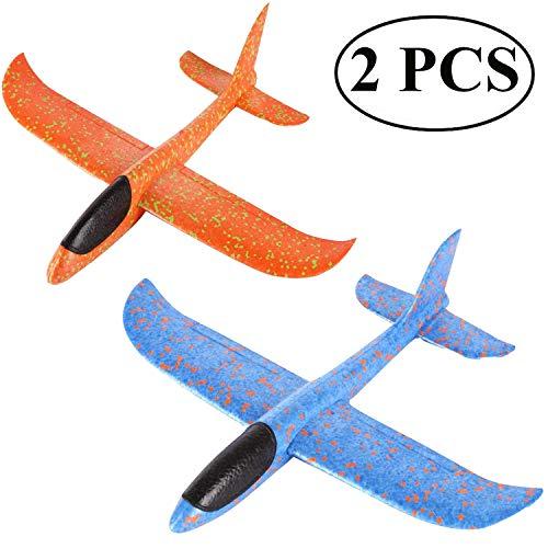Ouinne 2 Stück Styroporflieger Flugzeug, Kinder Flugzeug Spielzeug Outdoor Wurf Segelflugzeug Werfen Fliegen Modell für Kinder Kindergeburtstag