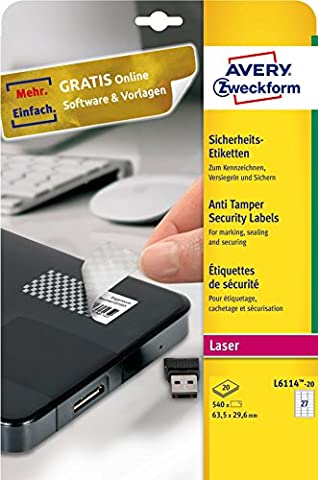 Avery Zweckform L6114-20 Sicherheits-Etiketten (A4, 540 Stück, 63,5 x 29,6 mm) 20 Blatt weiß