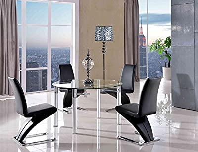 Torino Extending 74 cm - 120 cm Round Glass Dining Table & Z Zed Chairs Available Black, Brown, Red & Ivory