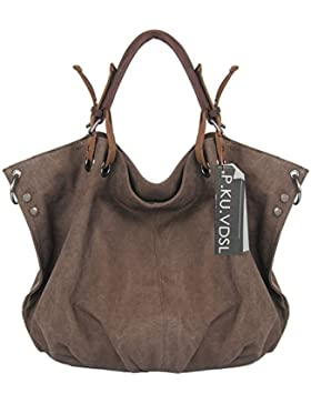 Canvas Tasche, P.KU.VDSL Canvas Shopper Damen Shopper Umhängetasche Handtasche, Hobos Bag Shoulder Bags Damen...