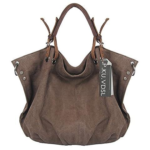 Canvas Shoulder Bag, P.KU.VDSL Women's Canvas Shopper Cross-body Bag, Canvas