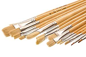 The Gallery London Natural Bristle Hair Artist Oil & Acrylic Paint Brushes (15 Piece Set) in Zip Case