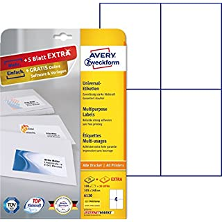 AVERY Zweckform 6120 Etiketten (A4, 100 Plus 20 Universal-Etiketten extra, 105 x 148 mm, 30 Blatt) weiß