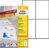 Avery Zweckform 6120 Etiketten (A4, 100 Plus 20 Universal-Etiketten extra, 105 x 148 mm) 30 Blatt, weiß