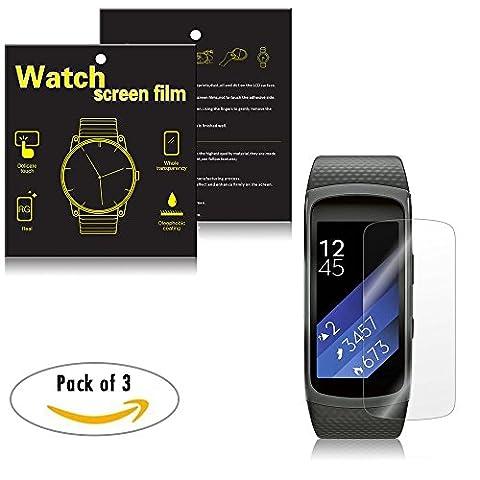 Samsung Gear Fit 2Sm-r360Smartwatch Films de protection d'écran–Ifeeker Lot de 3complète Converage poussière et anti-rayures Ultra mince HD Effacer film protection d'écran avec absorbeur de poussière Stickers et chiffon de nettoyage d'écran pour Samsung Gear Fit2Sm-r360Smartwatch