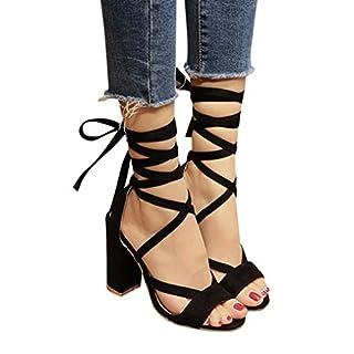 Sandalen Damen, Sonnena Frauen Damen Sandalen Knöchel High Heels Block Party offene Zehen Schuhe PU/Solid/außen/quadratischer Absatz/Knöchelriemen/Knöchel/Klassiker (Sexy Schwarz, 41)