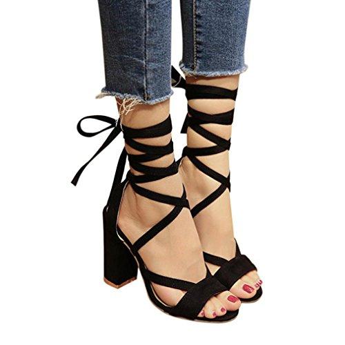 Sandalen Damen, Sonnena Frauen Damen Sandalen Knöchel High Heels Block Party offene Zehen Schuhe PU/Solid/außen/quadratischer Absatz/Knöchelriemen/Knöchel/Klassiker (Sexy Schwarz, 37) -