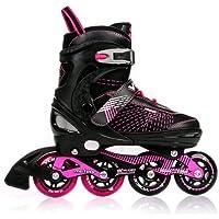 METEOR® VOICE Patines en Línea (Niños Mujer Inline Skates ABEC 7 de carbono Tamaños ajustable 30-33/34-37/38-41), Tamaño:S (30-33)