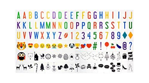 (NectaRoy Lightbox Ergänzungsset Buntes Licht Box Groß-Buchstaben Set, 118 Zeichen Erweiterungs-Set für LED Lichtbox A4, Ergänzungsset Celebrations - für alle Leuchtkäste)