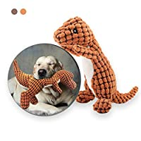 Andiker Stuffed Dog Toy Plush Dog Toy Corduroy Durable Interactive Toy Includes Plastic Noise-making Squeaker Dinosaur Shape Plush Toy