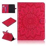 iPad Air 2 Hülle,Careynoce PU Leder Abdeckung Stand Flip Schutzhülle Hülle - mit Automatischem Schlaf Funktion Und Wach Funktion für Apple iPad Air 2 iPad 6 (9.7 Zoll) -- Sonne Blume(Rot)