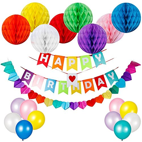 Kunmuzi Happy Birthday Decorations Supplies, Happy Birthday Banner and 8pcs Colorful Paper Honeycomb Balls, 10pcs Party Balloons, 1pc Rainbow Paper Garland (Red)