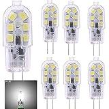 6 bombillas LED G4, luz blanca fría 6000 K, 2 W (20 W equivalente a bombilla halógena), AC 12 V CC, campana extractora, 160 LM, SMD, G4, LED de doble pinza para encendido en casa, no regulable