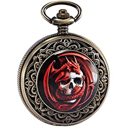 AMPM24 Steampunk Death Skull Pirate Red Dragon Retro Pendant Pocket Watch Gift + AMPM24 Gift Box WPK172