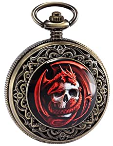 AMPM24 Montre de Poche Steampunk Death Skull Pirate Dragon Rouge Rétro Cadeau + Boîte WPK172