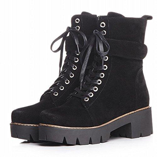 Mee Shoes Damen Reißverschluss chunky heels Plateau chukka Boots Schwarz
