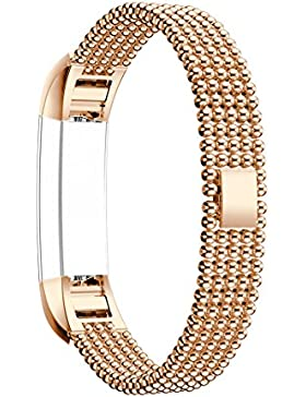 Für Fitbit Alta Armband Rosa Schleife® Smart Watch Band Edelstahl armbänder Wrist Strap Uhrenarmband mit Metallschließe...