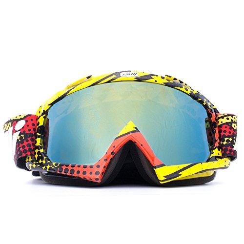 RIALLI Motorrad Goggle Dirtbike Off-Road Schutzbrille Motocross Wind Staubschutz Fliegerbrille Schneebrille Wintersport Brille Rot + Gelb Rahmen