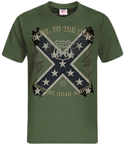 USA T-Shirt Amerika Flagge USA Flag Vintage Stars and Stripes Route 66 Route66 oliv (khaki)