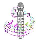 Karaoke Mikrophon Bluetooth, SENDOW Drahtlose Tragbare Karaoke Mikrofon Lautsprecher für Apple iPhone Android Smartphone Oder PC, Startseite Outdoor KTV Party Musik Spielen Singen (Silber)