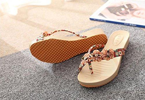 YOUJIA Femmes Peep Clip Toe Sandal Compensées Bohême Fleur Sandales Plage Flip Flops #2 Rouge