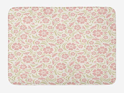 Casepillows Flower Bath Mat, Vintage Old Fashioned Floral Pattern Silhouettes Briar Shrubs Roses Retro, Plush Bathroom Decor Mat with Non Slip Backing, 23.6 W X 15.7 W Inches, Rose Pale Green White - Briar Rose Floral