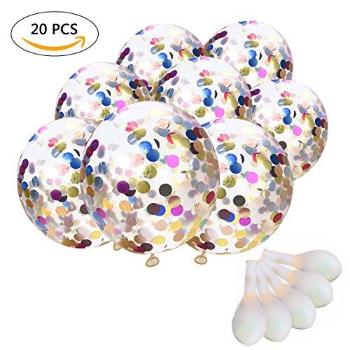 TankerStreet 20 Stück Konfetti Luftballons Jumbo Latex Ballon Klar Ttransparent Ballons mit Bunte Golden Folie Konfetti für Hochzeits Vorschlag Geburtstag Party Dekorationen