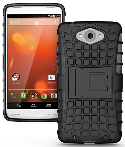 Heartly Flip Kick Stand Spider Hard Dual Rugged Armor Hybrid Bumper Back Case Cover For Motorola Moto Turbo XT1254 - Rugged Black
