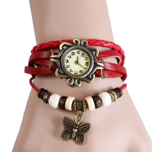 Girlz! leather bracelet with watch For Women (Red)