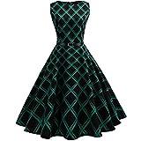 Damen Kleider Vintage Retro Kleid Petticoat Faltenrock Schwarz-Weißes Karierte Kleider Sommerkleider Knielang Hepburn Rockabilly Kleid Abendkleider Partykleider (Green, XL)