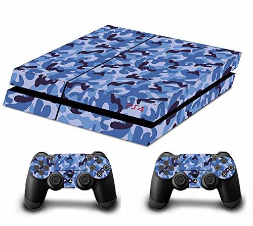 Morbuy PS4 Skin Design Folie Aufkleber Sticker schützende Haut Schale für Sony Playstation 4 Konsole und 2 Dualshock Controller Skins (Camo Blau)