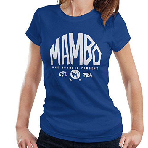 Mambo Established 1984 White Text Women's T-Shirt Royal Blue